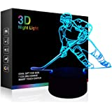 Hockey Player 3D Lamp Night Lights for Kids 7 LED Color Changing Touch Table Desk Lamps Lighting Cool Toys Gifts Birthday Xma