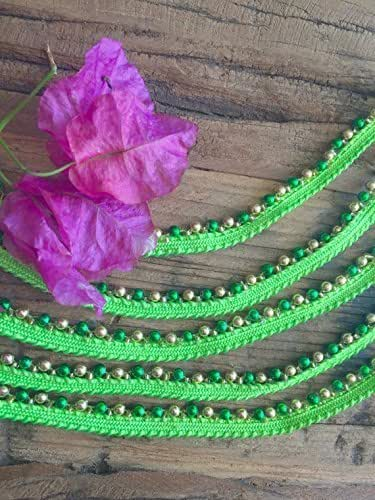 Lime Green Skinny Beaded Trim, embellished beaded trim for sewing, beads and embellishments