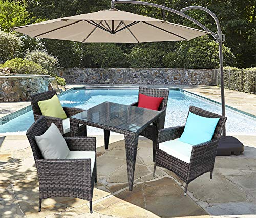 Do4U 5 Piece Patio Wicker Dining Set Complete Outdoor Rattan Dining Furniture Square Glass Table Cushioned Chair(Mixed-9021)