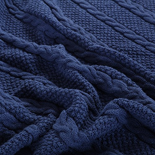 NEW YEAR GIFT SALES! Cotton Knitted Checkered Throw Soft Warm Cover Blanket Checkered Knitting Pattern, 47 by 70 Inches, Navy