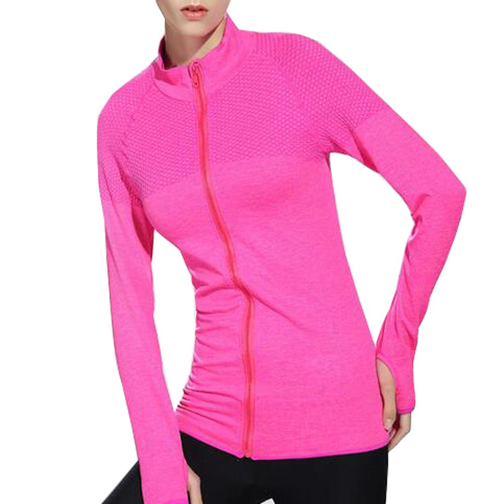 VOGUE CODE Zip-up Quick Dry Yoga Clothes High Elasticity Outwear Sweat Absorption T-shirt (M, pink) by VOGUE CODE