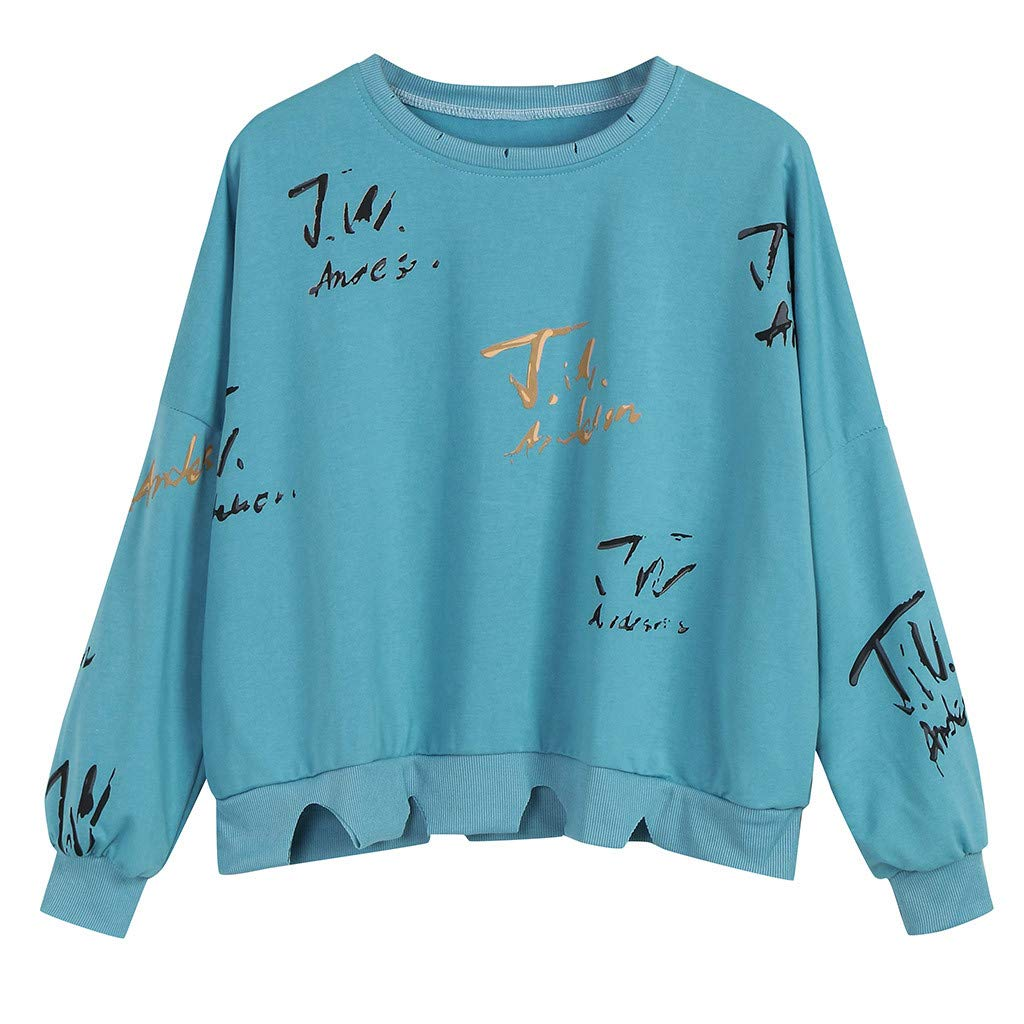Badymin Womens Autumn Casual Long Sleeve Printed Hole Pullover T Shirts Tops Blouse Blue by Badymin