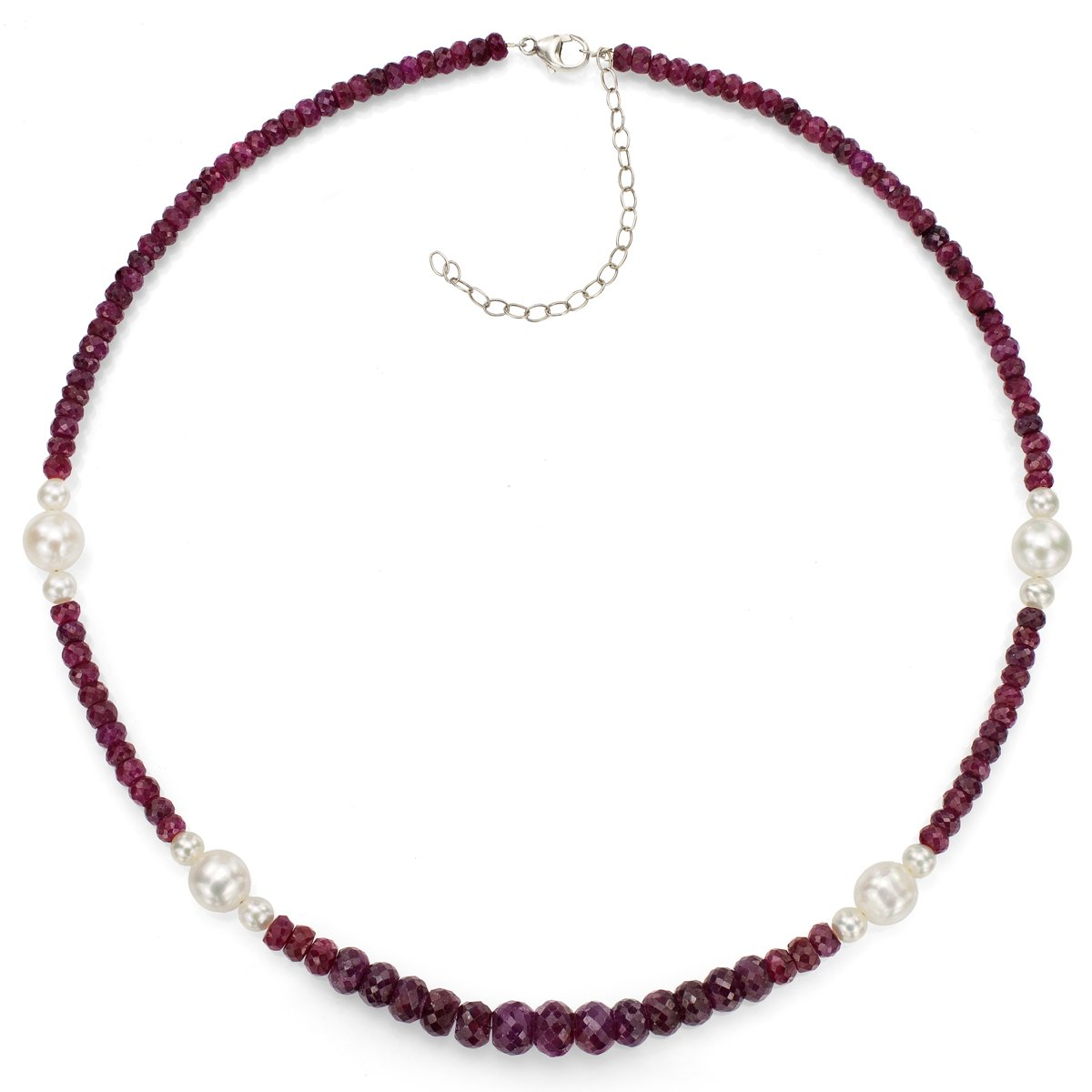 Sterling Silver 5-9.5mm White Freshwater Cultured Pearl 4-8mm Simulated Red Ruby Necklace, 18''+3''
