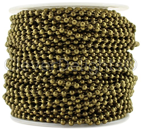 30 Foot Bronze - CleverDelights Ball Chain Roll - 30 Feet - Antique Bronze Color - 2.4mm Ball - #3 Size