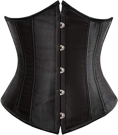 Classic Black full Spiral Boned Tight Lacing underbust Corset  Waist Top