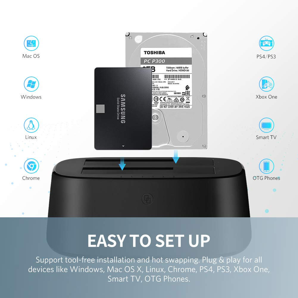 Base de Conexión Disco Duro, UGREEN UASP Docking Station Clonador con Doble Bahías USB 3.0 para HDD, SSD 2.5