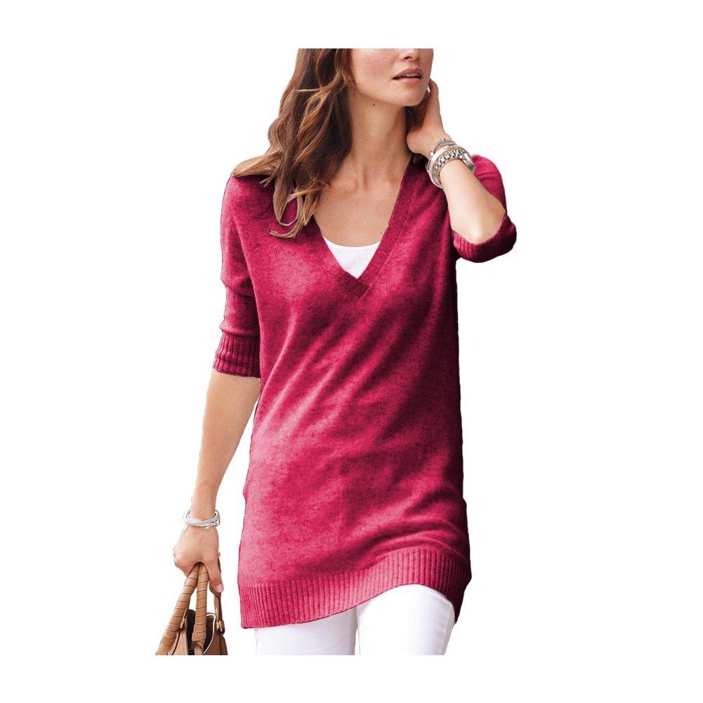 Parisbonbon Women's 100% Cashmere V-Neck Sweater Color Watermelon Size L