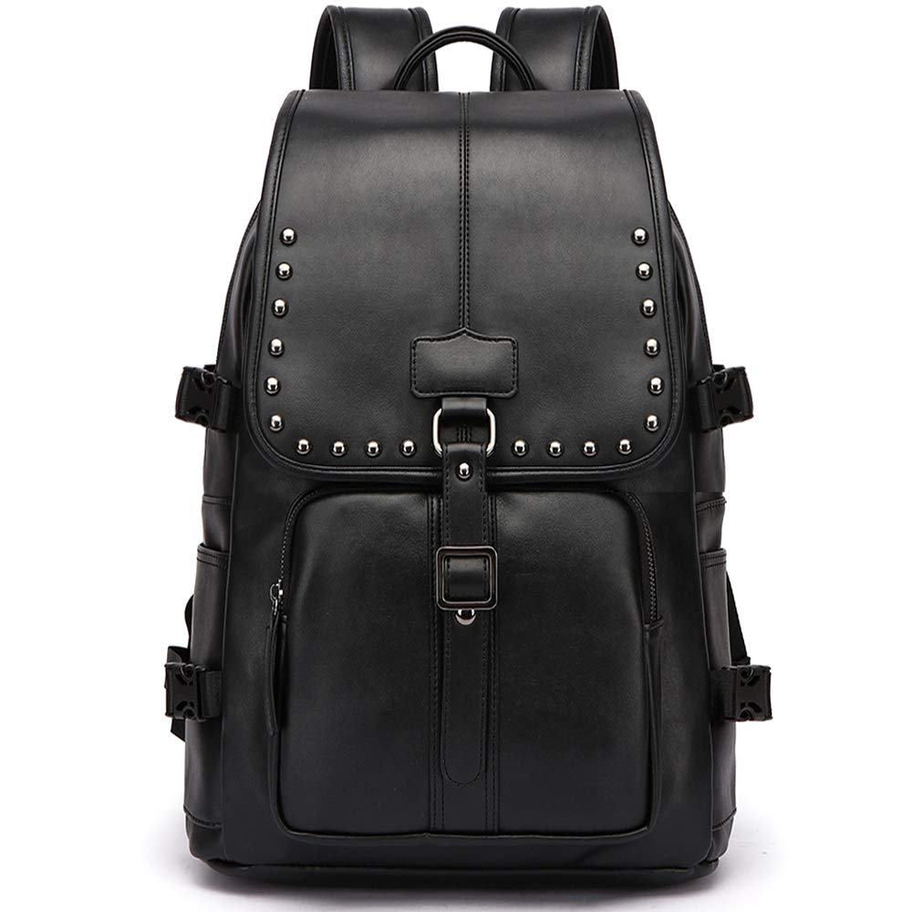 Travel backpack bags luggage bag packsack Laptop backpack schoolbag knapsack bookbag mochila masculina for men,boys,students .large capacity,waterproof, leather black. (black-6)