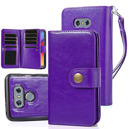 TabPow LG G6, LG G6 Plus Case, 10 Card Slot - ID Slot, Button Wallet Folio PU Leather Case Cover With Detachable Magnetic Hard Case For LG G6 (2017)/LG G6 Plus - Purple