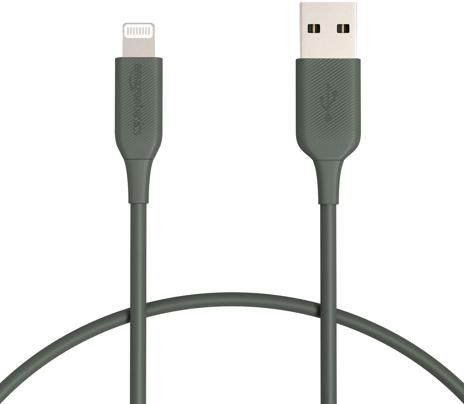 AmazonBasics Lightning to USB Cable - MFi Certified Apple iPhone Charger, Midnight Green, 1-Foot (Durability Rated 4,000 Bends)