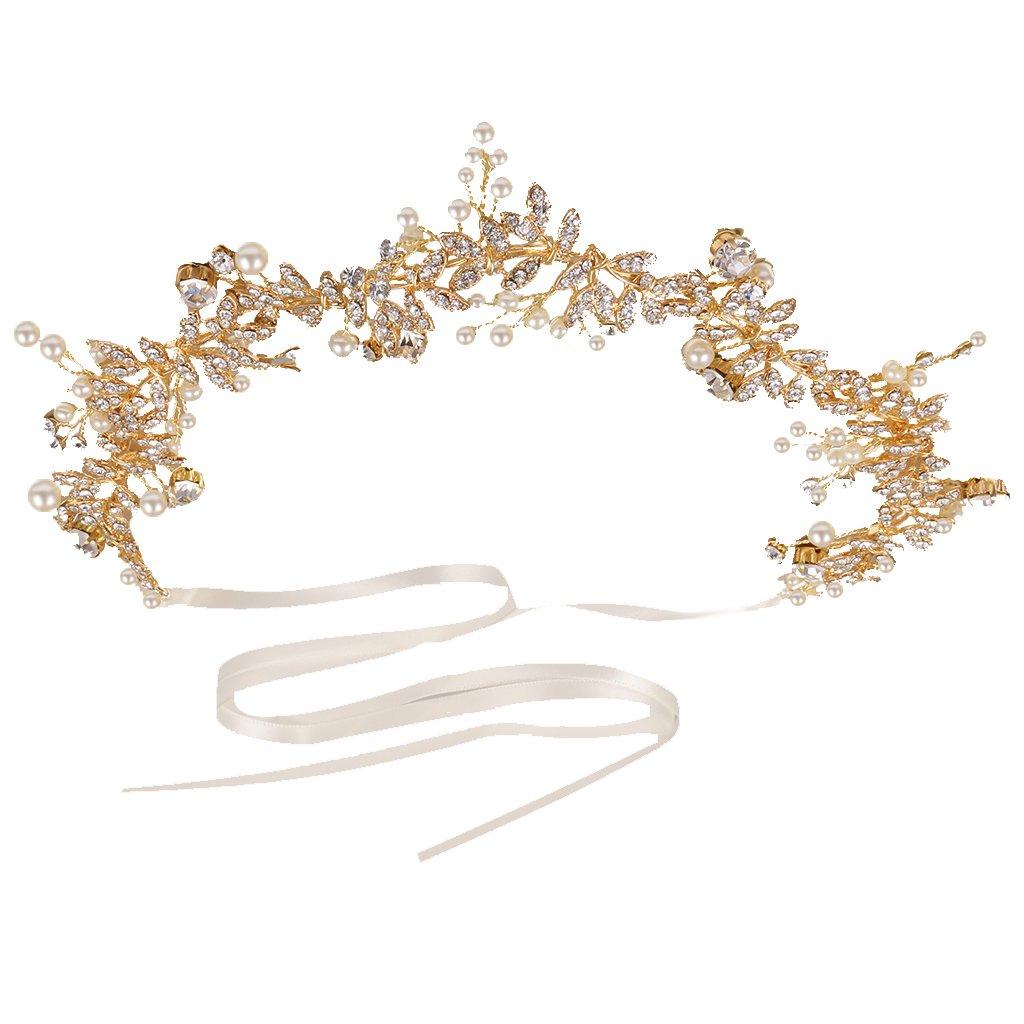 MonkeyJack Romantic Diamante Pearls Leaves Headband Tiara Wedding Bride Prom Headpiece Hair Accessory-Silver/Gold