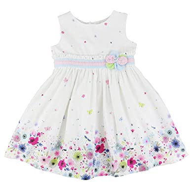 aca810df6a2b8 Abella Girls Sleeveless Cotton Dress In White With Floral Print (4 Years)   Amazon.co.uk  Clothing