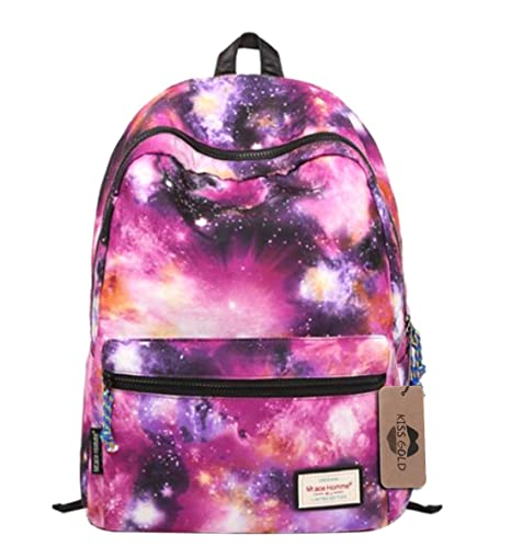 KISS GOLD(TM) Unisex Nylon Galaxy Pattern Laptop Backpack Rucksack Daypack, Purple