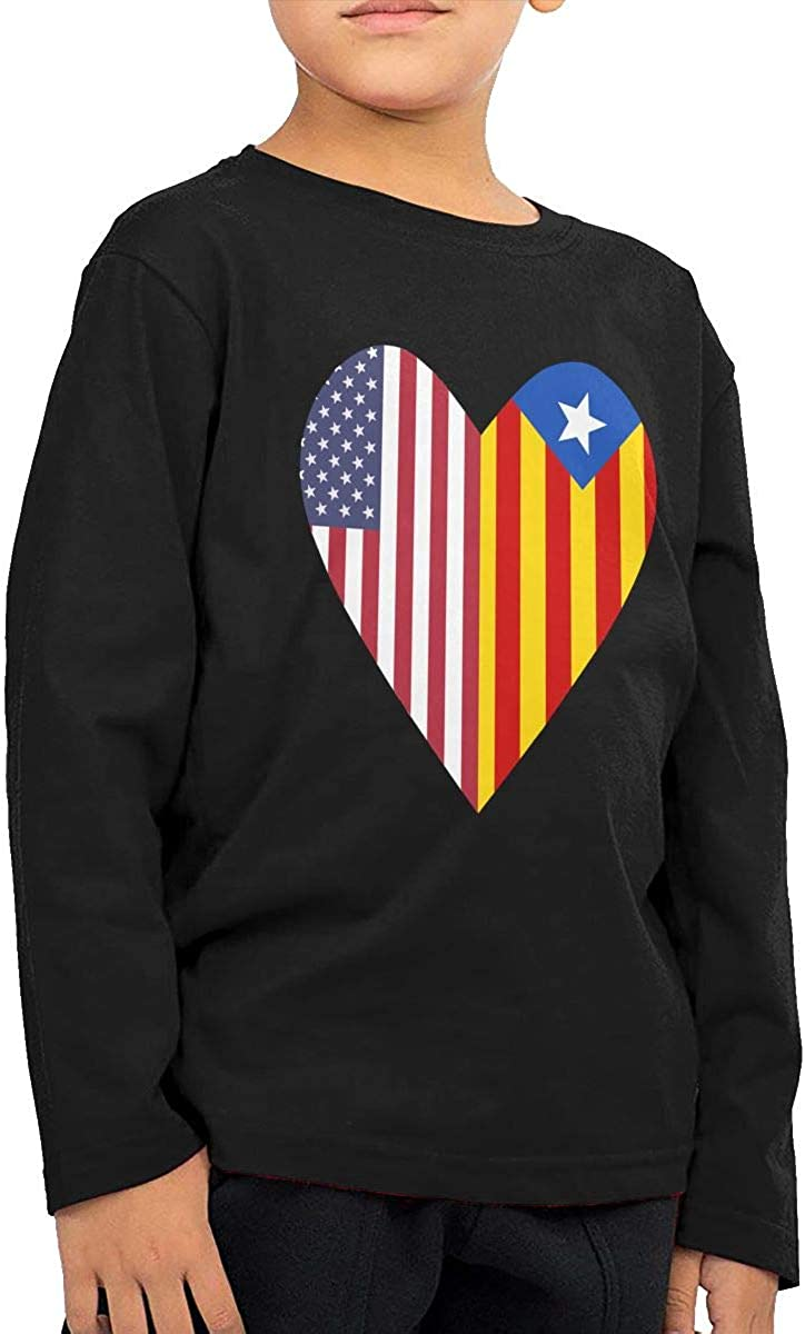 Little Boys Half Catalonia Flag Half USA Flag Love Heart ComfortSoft Long Sleeve Shirt