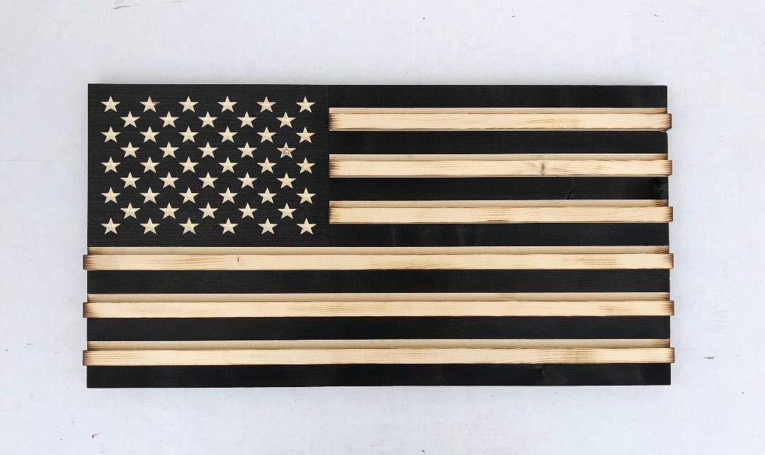 RyMar Custom Creations Medium Black and White Rustic American Flag Challenge Coin Display