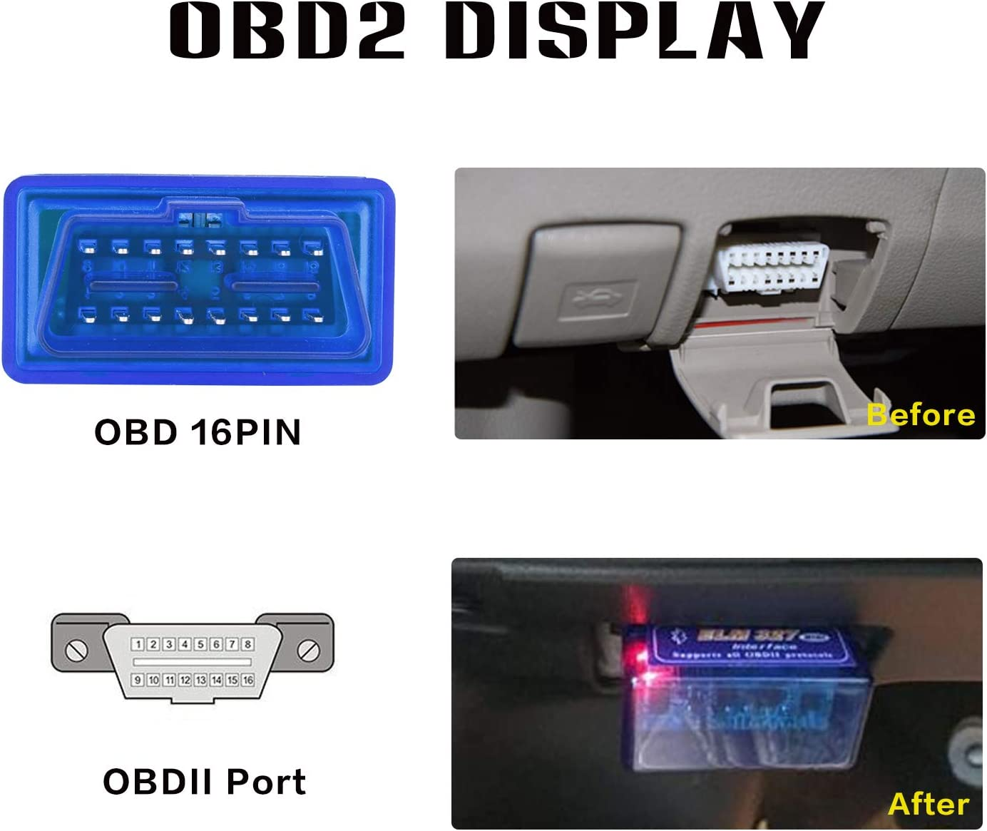 dasaita Car OBDII OBD 2 Bluetooth Fault Code Reader Reset Adapter for iPhone IOS Android Auto Check Engine Light Clear ODB2 Diagnostic Scan Tool