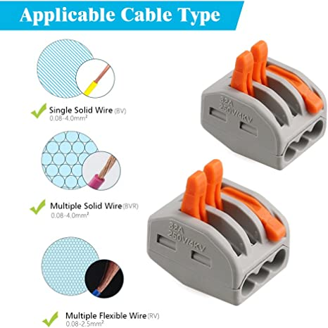 10pc PCT-213 Wiring Connector 3 Way Push In Lighting Cable Fast Connection New