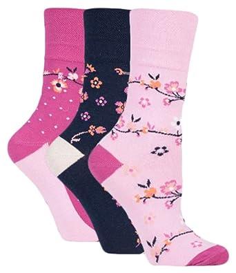 71aee26bb9117 3 Pairs Ladies Navy Pink Cerise Cream Floral Cotton Gentle Grip Socks, Size  4-8: Amazon.co.uk: Clothing