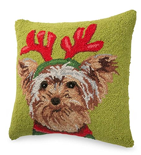 Hand-Hooked Holiday Dog Pillows, in Yorkie