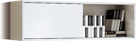 Abitti Estantería Módulo Alto Aéreo de Salón Comedor Color Blanco Brillo con Puerta corredera. Herrajes para Colgar incluidos. 109cm Ancho x 33cm Fondo x 34cm Altura: Amazon.es: Hogar