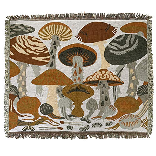 ANswet Luxury Tapestry Throw Handicrafts Tapestry Jacquard Thickened Tapestries Wall Hanging Each Weight 900 Grams Tapestry Floral with Fringe Colourful Tassels Wall Rug 50x60 inch(Mushroom)