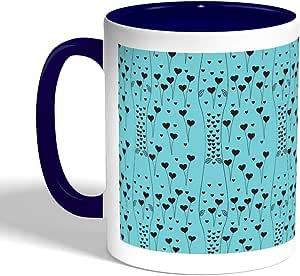 كوب سيراميك للقهوة، لون ازرق، بتصميم رومانسي - قلوب