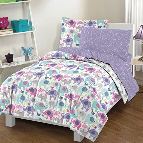 7 Piece Elephant Print All Over Themed Comforter Set Full Size, Featuring Vibrant Colorful Animal Wildlife Elephants Pattern Bedding, Kids Child Cute Stars Design Children Threaded, Purple, Multicolor by SE