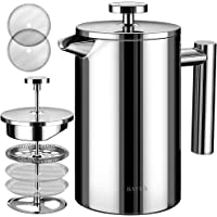 BAYKA French Press Coffee Maker, Stainless Steel 21oz Double-Wall Metal Insulated Coffee Tea Makers with 4 Level…