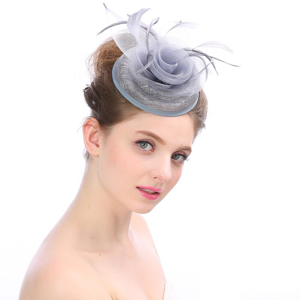 Beelittle Fascinators Hat Cocktail Tea Party Wedding Headwear Flower Mesh Feathers Headband Clip for Girls and Women (D-Gray)