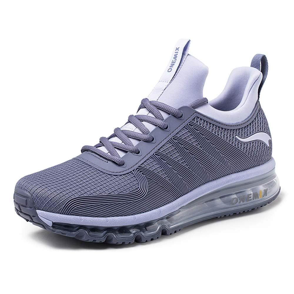 Onemix Air Deportes Zapatillas De Running para Hombre Aire Libre Respirable Zapatos para Correr 44 EU|Gris Plateado