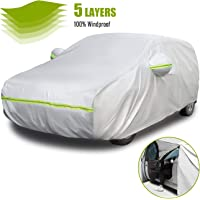 Favoto - Funda universal para coche, 5 capas, diseño de cierre lateral del lado del conductor, protección solar con…
