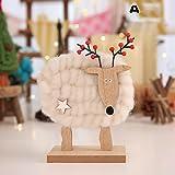 Slec tech 鹿の装飾品子供の部屋の装飾クリスマスの子供の贈り物ウールフェルト装飾品クリスマスデコレーション白ウールフェルト鹿人形子供の贈り物デスクトップ木製の飾り