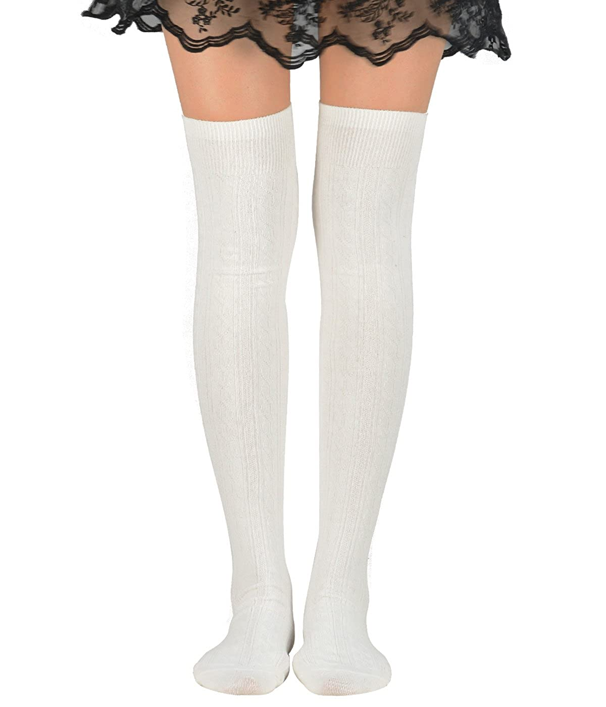 d65903929 Amazon.com  Zando Women Cotton Knit Spiral Over The Knee Thigh High Long  Stocking Socks Solid Varsity Cosplay Leg Warmers G White  Clothing