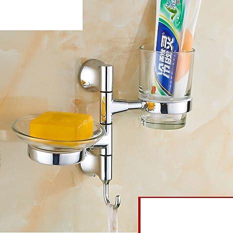 portavasos cepillo de dientes Continental/ dorado Soseki/ Vidrio soporte de vaso giratoria/Azul