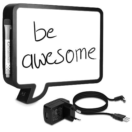 Navaris Caja de luz LED - Burbuja de Chat escribible - con Cable USB y Marcador - Caja de iluminación cinematográfica - lámpara lightbox Decorativa