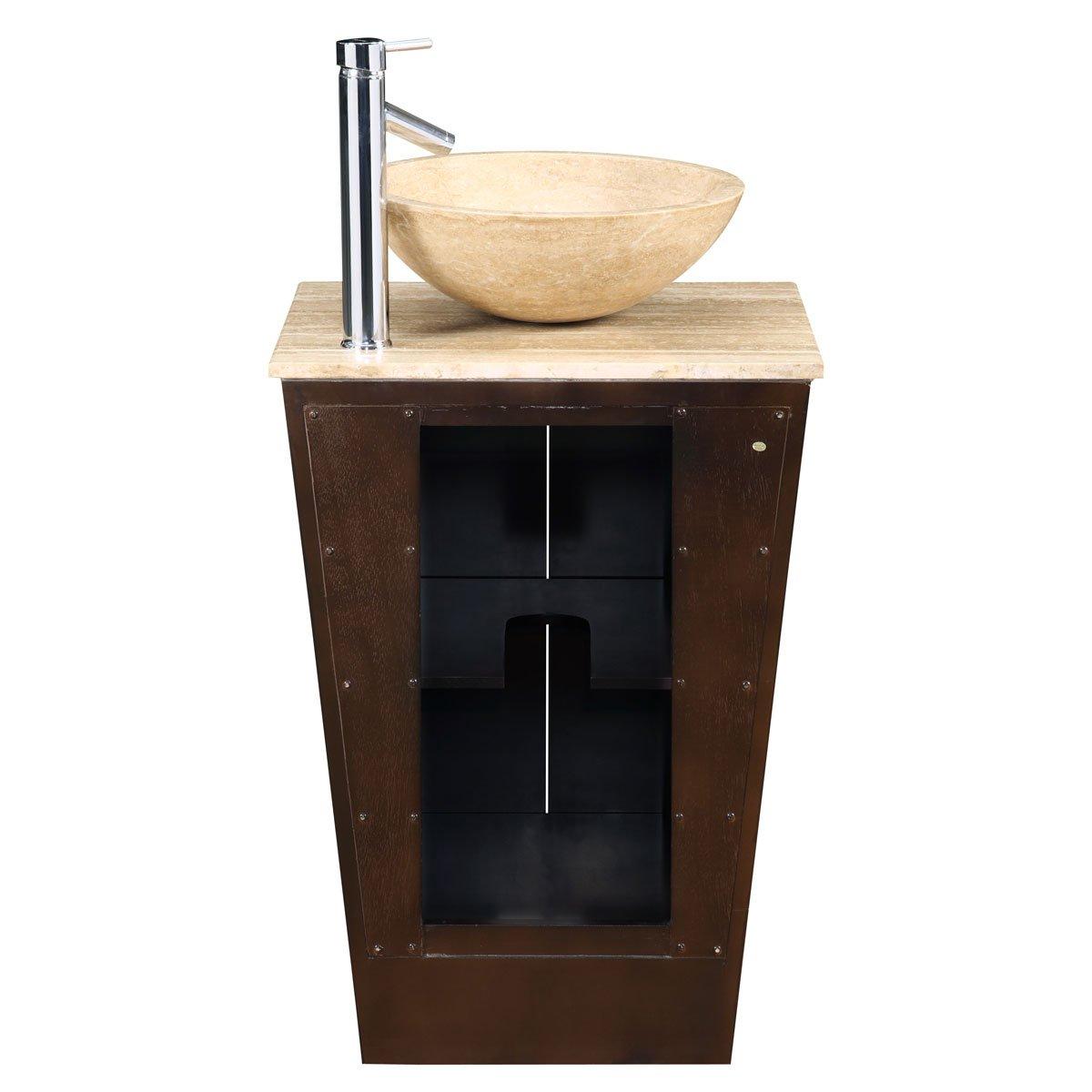 amazoncom silkroad exclusive travertine stone single sink vessel bathroom vanity with storage cabinet 22inch home u0026 kitchen