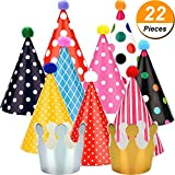 kids party cone hats - Maxdot 22 Pieces Party Cone Hats Polka Dots Birthday Paper Cone Hats and Crown Hats with Lovely Pom Poms for Party Supply