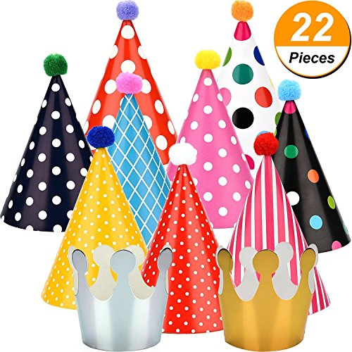 Maxdot 22 Pieces Party DIY Cone Hats Polka Dots Birthday Paper Cone Hats and Crown Hats with Lovely Pom Poms for Party Supply -