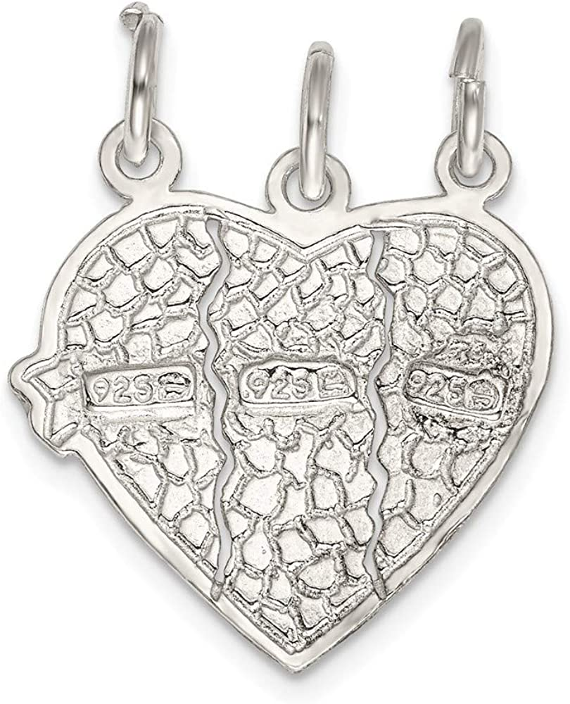 16-20 Mireval Sterling Silver Best Friends 2-Piece Break Apart Heart Charm on a Chain Necklace