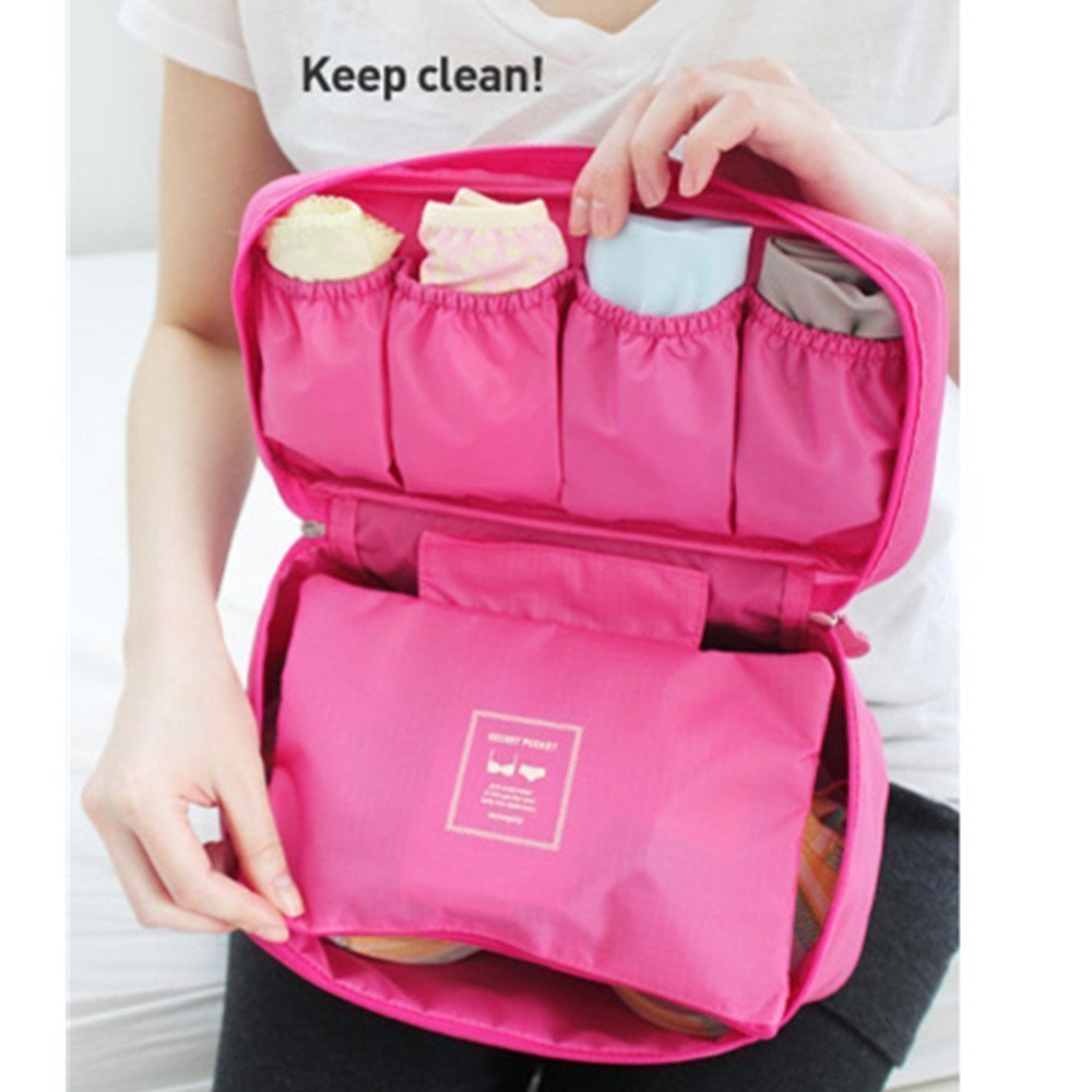 Amazon.com : Waterproof Women Girl Lady Portable Travel Bra Underwear  Lingerie Organizer Bag Cosmetic Makeup Toiletry Wash Storage Case Sky Rose  Red.
