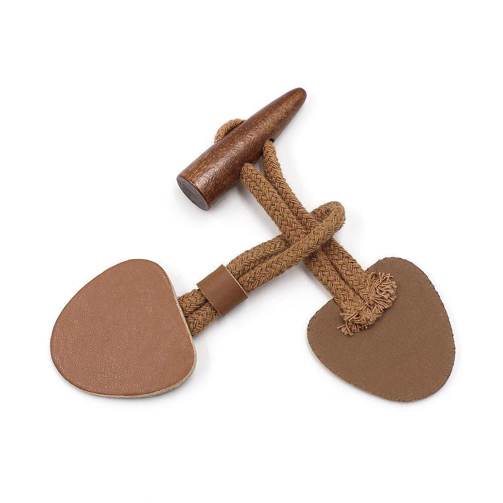 Lot de 6paires de boutons brandebourgs - En cuir synthétique et bois - Pour manteaux, vestes - Camel