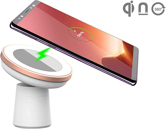 CORNMI 5W//10W Qi-Enabled Phones Wireless Charging Silver White Wireless Car Charger Mount