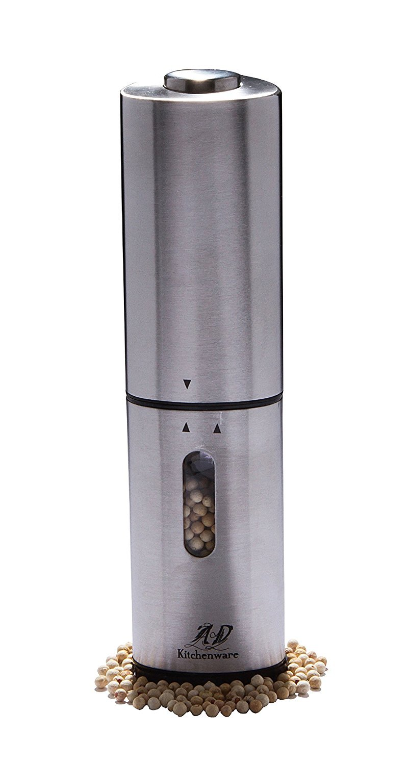 AD Kitchenware Electric Pepper Grinder Salt and Pepper Mill Kitchen, Stainless Steel COMINHKR070544