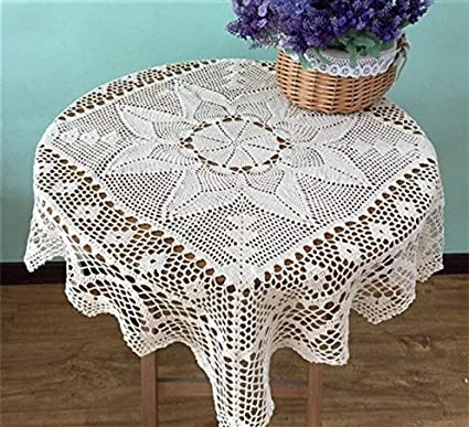 Amazoncom Ustide Rural Cotton Crochet Tablecloth Square Handmade