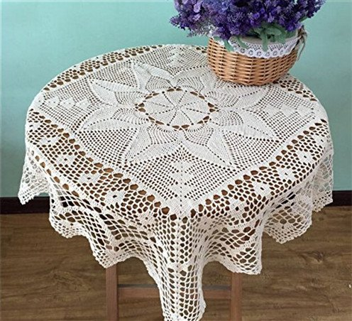 USTIDE Rural Cotton Crochet Tablecloth Square Handmade Table Cloth Light Beige Tablecloth 33 inches -