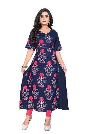 de01c08d7a8a Amazon.com: ziya Cotton/Rayon Kurta Long/Short Women Designer Printed Kurti  for Women Wear 80-85: Clothing
