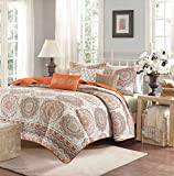 Tahitian Sunset Medallion King Quilted Coverlet, Sham and 3 Decorative Toss Pillows (6 Piece Bedding Ensemble)