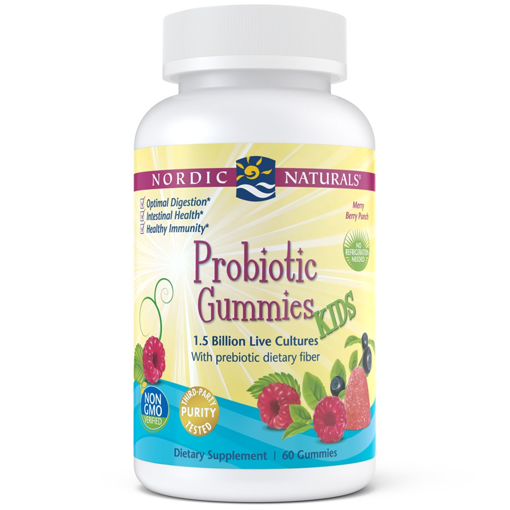 Nordic Naturals Probiotic Gummies Kids - 1.5 Billion Live Cultures in Synergistic Blend of Prebiotic Fiber for Healthy Digestive Balance and Nutrient Absorption, Berry Punch Flavor Gummy, 60 Count