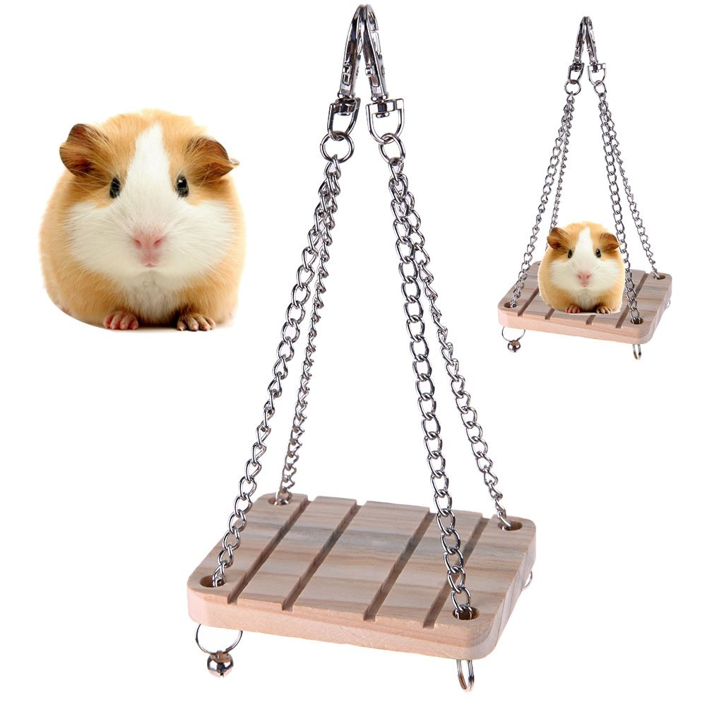 Occitop Pet Bird Animal Wooden Toy Playing Board Hanging Swing Squirrel Springboard (Wooden)