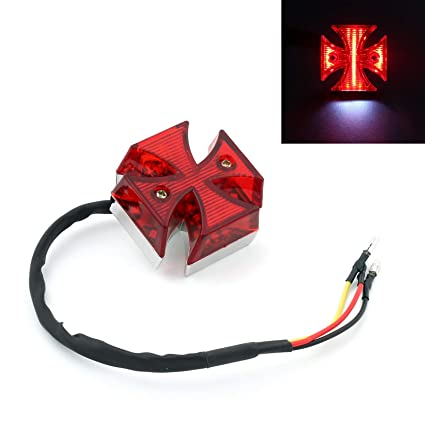 Motorcycle Tail Light Choppers Dirt Bike Maltese Cross Led Rear License Plate Tail Light For Most Dual Sport/dirt Bikes Quads Electric Vehicle Parts Accessories